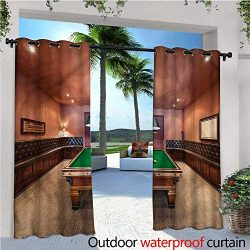 warmfamily Modern Exterior/Outside Curtains Pool Table Billiard for Patio Light Block Heat Out W ...