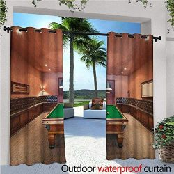 Modern Patio Curtains Entertainment Room in Mansion Pool Table Billiard Lifestyle Photo Print Ou ...
