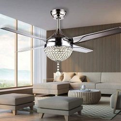 RainierLight Modern Crystal Ceiling Fan Lamp LED 3 Changing Light 4 Stainless Steel Blades with  ...