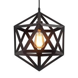 HOMIFORCE Vintage Style 1 Light Black Geometric Pendant Light with Metal Shade in Matte-Black Fi ...