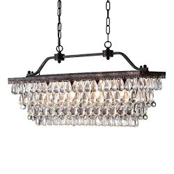 Edvivi 4-Light Antique Bronze Rectangular Linear Crystal Chandelier Dining Room Ceiling Fixture  ...