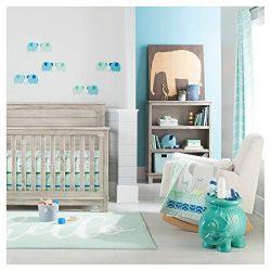 Cloud Island Oeko-TEX 4pc Blue Elephant Parade Baby Crib Bedding Set, Light Blue/Gray