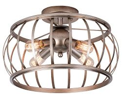 Alice House Ceiling Light 18″ Vintage Industrial Rustic Semi-Flush Mount Lamp T45 Edison B ...