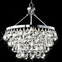 Saint Mossi Modern K9 Crystal Raindrop Chandelier Lighting Flush mount LED Ceiling Light Fixture ...