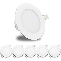 LeisureLED 5 Pack RV Boat Recessed Ceiling Light 480 Lumen Super Slim LED Panel Light DC 12V 4.7 ...