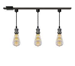 Kiven 1-Light H System Track Mini Pendant, Pearl Black Finish Lamp Holder Fitting Track Light Ki ...