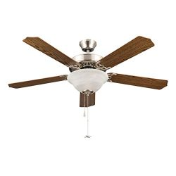 Sunix 3 65 52-inch Contemporary Brushed Nickel Indoor Ceiling Fan Bronze Pull Chain Set, 5 Blade ...
