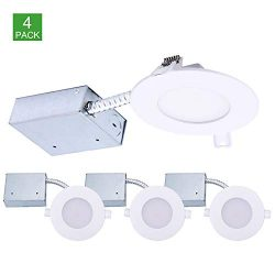 4 inch Ultra-Thin LED Downlight with Junction Box, Dimmable Slim Recessed Ceiling Light with Jbo ...