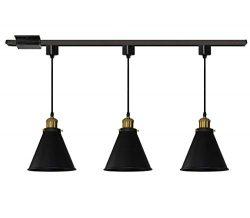 Kiven H-Type Track Pendant Lignting Antique Industrial Oil Rubbed Bronze Pendant Light 3 Pack fo ...