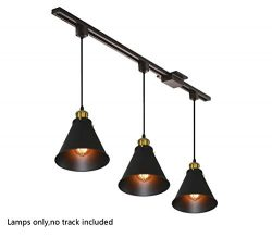 Kiven H-Type Track Lignting Pendant Antique Industrial Oil Rubbed Bronze Pendant Light 3 Pack,TB ...