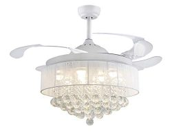 42″ Crystal Round Drum Fabric shape Ceiling Fans 32W LED 4 Acrylic Invisible Retractable B ...