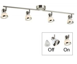 4 Lights Track Light kit, LED GU10 Colorful Décor Bulbs Included,Swivel Arm and rotatable Head, ...