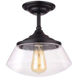 Kira Home Summit 10″ Industrial Semi Flush Mount Ceiling Light + Schoolhouse Glass Shade,  ...
