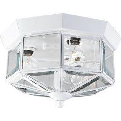 Progress Lighting P5788-30 Octagonal Close-To-Ceiling Fixture with Clear Bound Beveled Glass, White