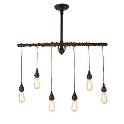 Unitary Brand Rustic Black Metal Hanging Pendant Light with 6 E26 Bulb Sockets 240W Painted Finish