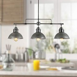 LOG BARN A03255 Transitional Pool Table Light, 3-Light Linear Chandeliers Kitchen Island Pendant ...