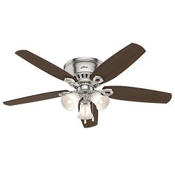 Hunter Fan Company Hunter 53328 52″ Builder Low Profile Ceiling Fan with Light, Brushed Nickel