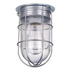 PS- All Weather Wall Barn Ceiling Exterior Light with Cage Outdoor Caged Light