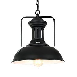 Pauwer Industrial Vintage Metal Sphere Pendant Light Fixture Globe Pendant Light Chandelier (Bla ...