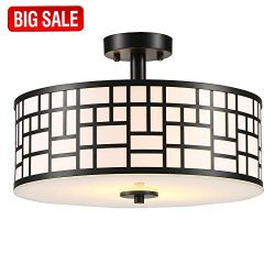 SOTTAE Elegant 2 Lights Glass Diffuser Black Livingroom Bedroom Flush Mount Ceiling Light, Ceili ...