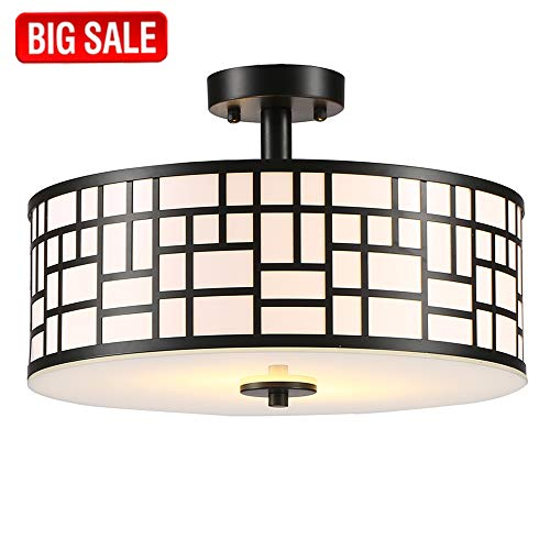 Sottae Elegant 2 Lights Glass Diffuser Black Livingroom Bedroom Flush Mount Ceiling Light