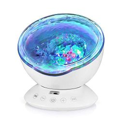 Ocean Wave Projector, Hallomall 12LED Night Light Lamp with Built-in Music Player, 7 Color Chang ...