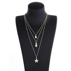 Women Gold Alloy Multilayer Chain Necklace Star Pineapple Cactus Pendant