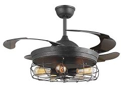 45″ Industrial Edison Bulbs Ceiling Fans Wire Caged Acrylic Retractable Blades Dimmable an ...