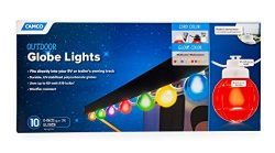 Camco 42750 Decorative RV Awning Globe Lights – 10 Multicolor Globes on White Wire,  Fits  ...
