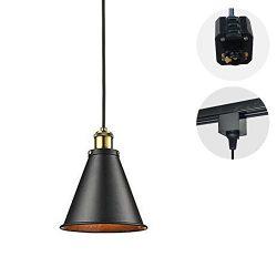 STGLIGHTING 1-Light H-Type Track Light Pendants 4.9 Feet Cord Vintage Pendant Lamp Industrial Fa ...