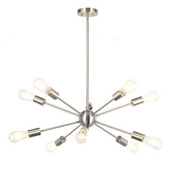 BONLICHT Sputnik Chandelier Lighting 10 Light Chandelier Modern Starburst Chandelier Mid Century ...
