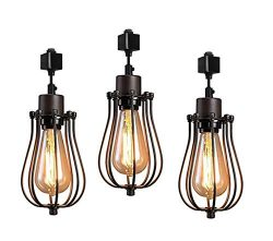 Kiven H-Type Track Lighting Mini Vintage Edison Hanging Caged Pendant Light Fixture for Home Kit ...