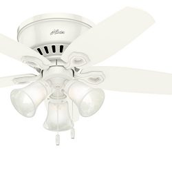 Hunter Fan 42 inch Low Profile Snow White Indoor Ceiling Fan with Light Kit and Remote Control ( ...