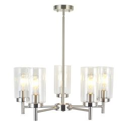 VINLUZ Contemporary 5-Light Large Chandeliers Modern Clear Glass Shades Pendant Lighting Brushed ...