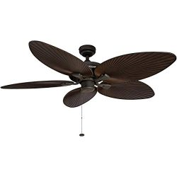 Honeywell Palm Island 52-Inch Tropical Ceiling Fan, Five Palm Leaf Blades, Indoor/Outdoor, Damp  ...