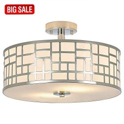 SOTTAE 2 Lights Elegant Modern Chrome Finish Glass Diffuser Livingroom Bedroom Flush Mount Ceili ...