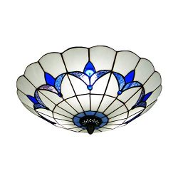 BAYCHEER HL298682 Tiffany Style Ceiling Fixture Flush Mount Ceiling Light Mediterranean Glass Sh ...