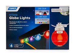 Camco 42760 Decorative RV Awning Globe Lights -6 Multicolor Globes on Black Wire,  Fits Directly ...