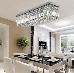 Siljoy Rectangular Raindrop Crystal Chandelier Lighting Modern Ceiling Lights Flush Mount Fixtur ...