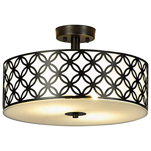 Sottae Black Ceiling Lamp 2 Lights Creamy White Glass Diffuser Living Room Flush Mount Ceiling