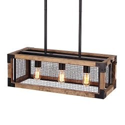 Anmytek Square Metal and Wood Chandelier Basked Pendant Three Lights Oil Black Finishing Iron Ne ...