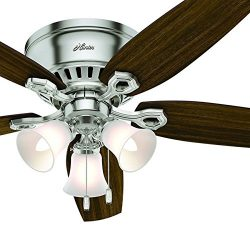 Hunter Fan 52 inch Low Profile Brushed Nickel Indoor Ceiling Fan with Light Kit and Remote Contr ...