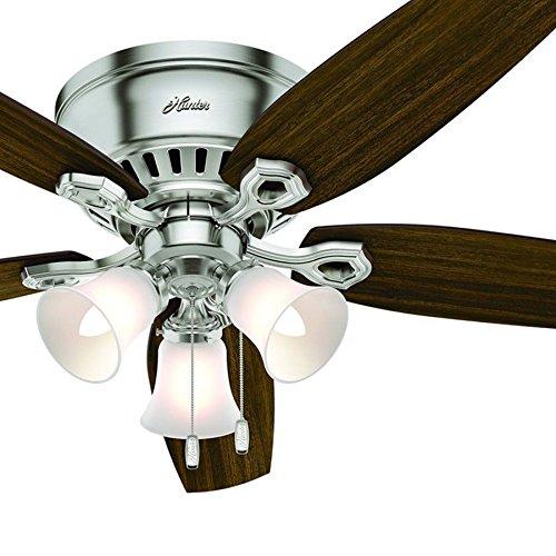 Hunter Fan Brickfield 52 Indoor Brushed Nickel Ceiling: Hunter Fan 52 Inch Low Profile Brushed Nickel Indoor