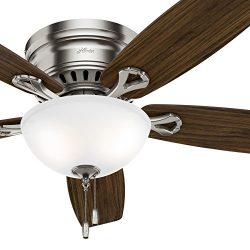 Hunter Fan 52 inch Low Profile Ceiling Fan in Brushed Nickel with Bowl LED Light kit, 5-Blade (C ...
