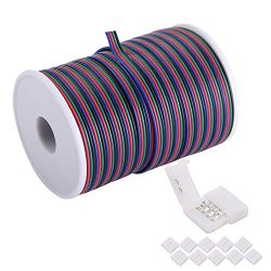 C-able 100ft(30.5m) 22 AWG 4Pin RGB Wire Extension Cable with Spool, Led Lights Wires Strip Exte ...