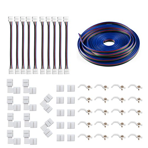5050 4Pin LED Strip Connector Kit – 10mm RGB LED Connector Kit includes 32.8FT RGB Extensi ...