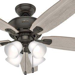 Hunter Fan 52 inch Traditional Nobel Bronze Indoor Ceiling Fan with LED Light Kit (Certified Ref ...