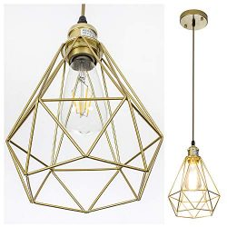 POPILION Vintage Simple Style Polygon Adjustable Cord Hanging Ceiling Gold Pendant Light, 1-Ligh ...