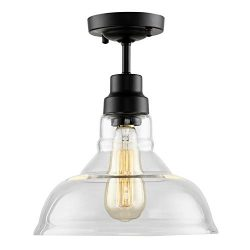 HMVPL Industrial Edison Close to Ceiling Light, Rustic Mini Semi Flush Mounted Pendant Lighting  ...