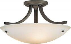 Feiss SF189ORB Gravity Glass Semi Flush Ceiling Lighting, Bronze, 3-Light (16″Dia x 10&#82 ...